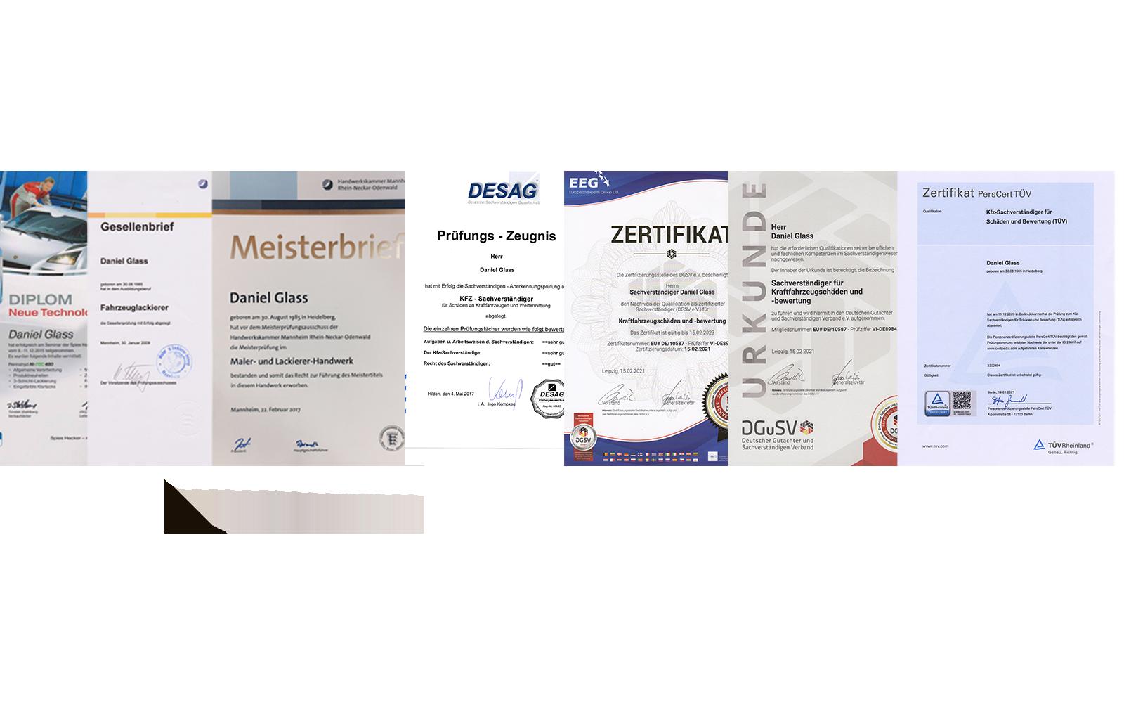 Zeugnisse und Zertifikate Kfz-Gutachter Glass